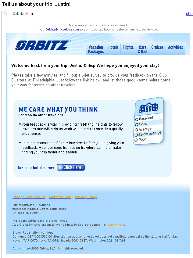 sending survey emails learn from orbitz 39 example email critic. Black Bedroom Furniture Sets. Home Design Ideas