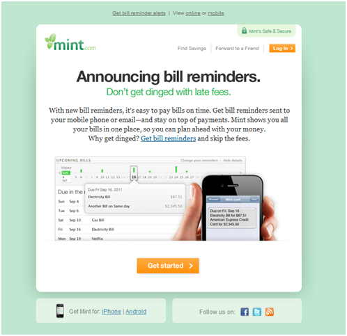 Mint.com Email Example