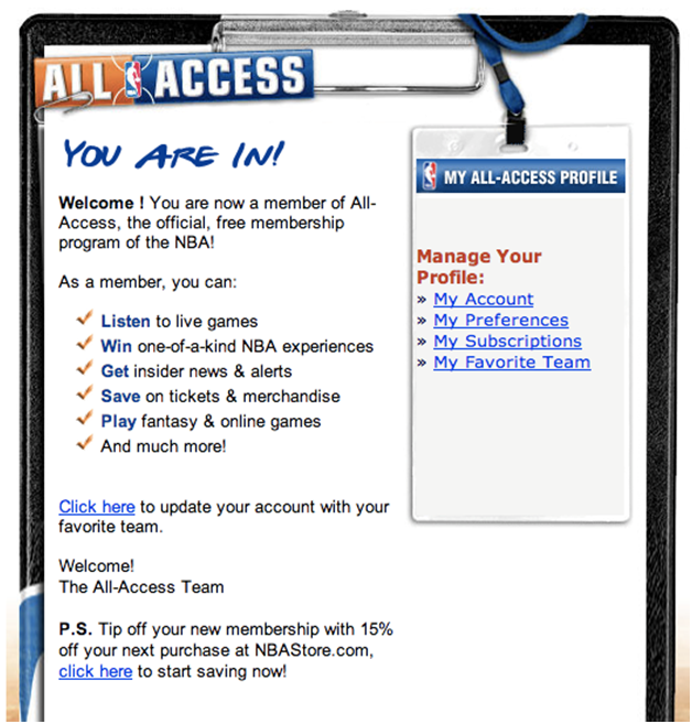 Email Automation Example from the NBA