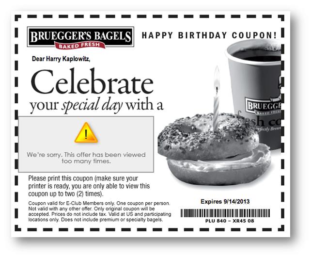Brueggers Birthday Email