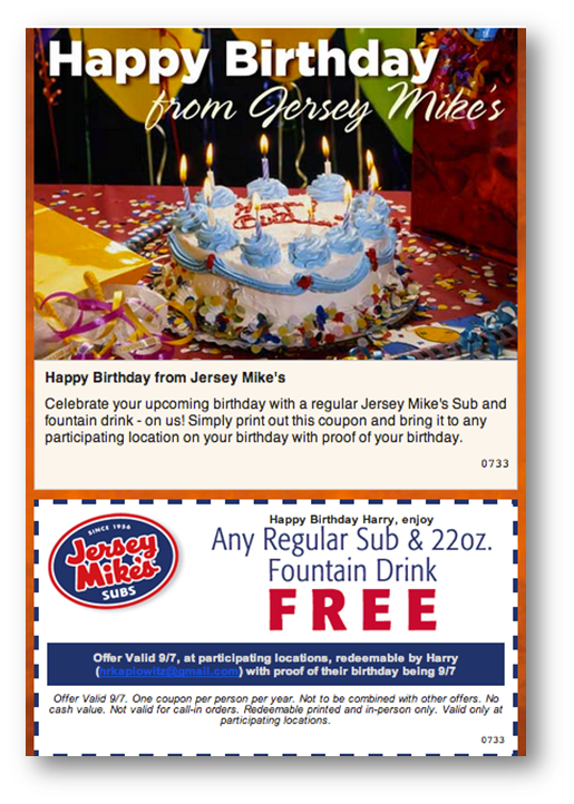 graphic regarding Jersey Mikes Printable Coupons titled Birthday E-mail Illustrations: Hits, Misses, and Thoughts-Scratchers
